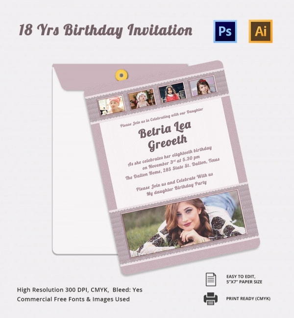 18th Birthday Invitation Card Template