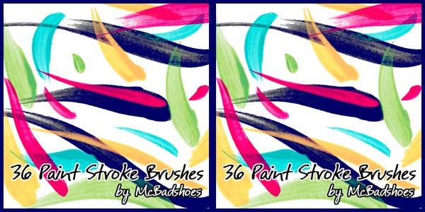 36 paint stroke brushes
