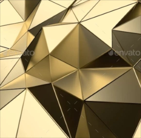 3d abstract render gold low poly surface