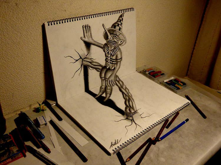 3d drawing residents on the sketchbook