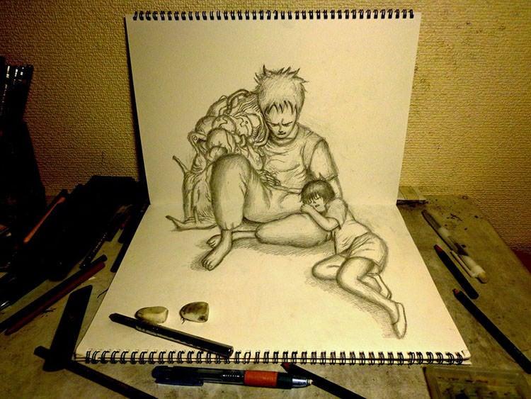 3d drawing tetsuo and kaori