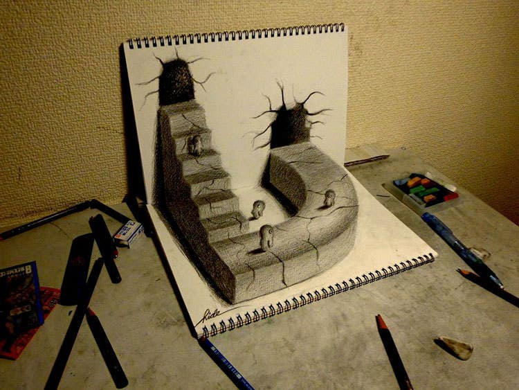 3d drawing world drawn by pencil