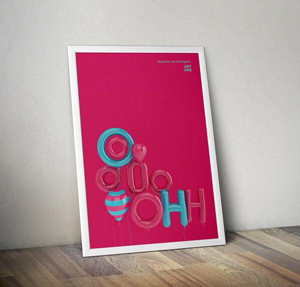 3d typographic posters