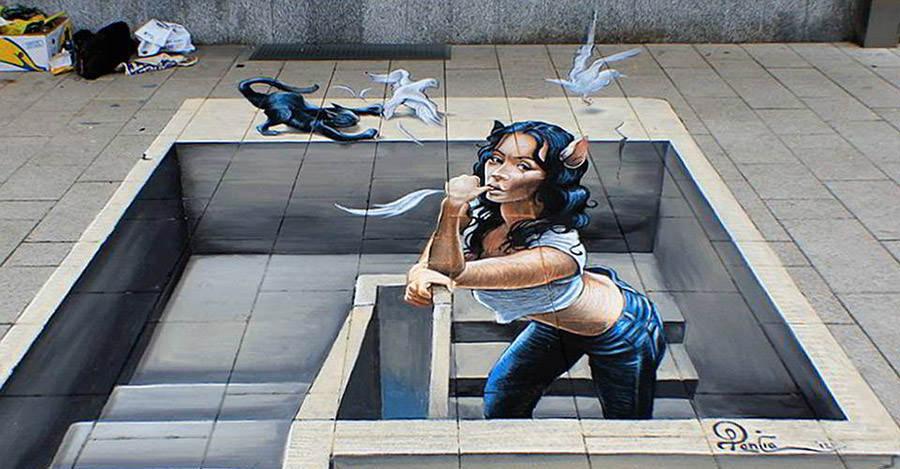 3d streetpainting 3d street painting 3d street art miaow anamorphic copy