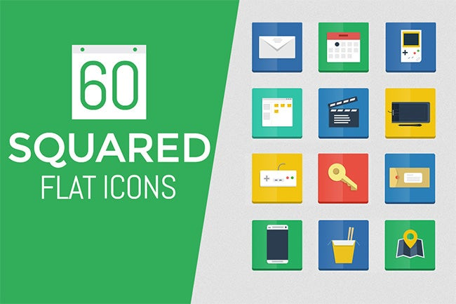 60 flat squared icons