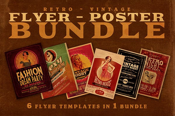 6Retro Flyer Templates