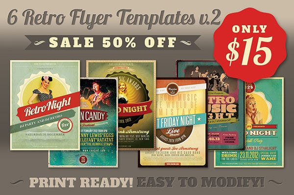 Retro Flyer Templates v.2