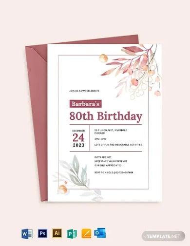 80th birthday invitation template2