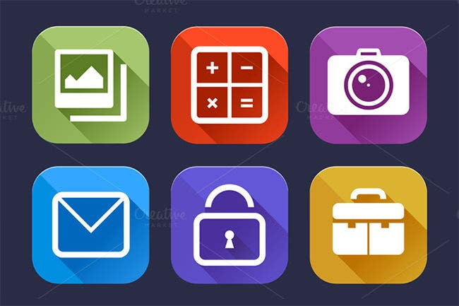 9 flat ui icons set