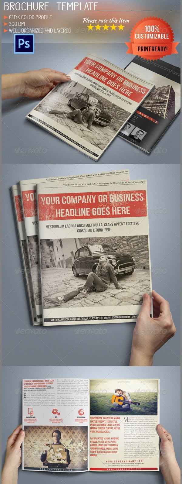 a5 retro bi fold business brochure
