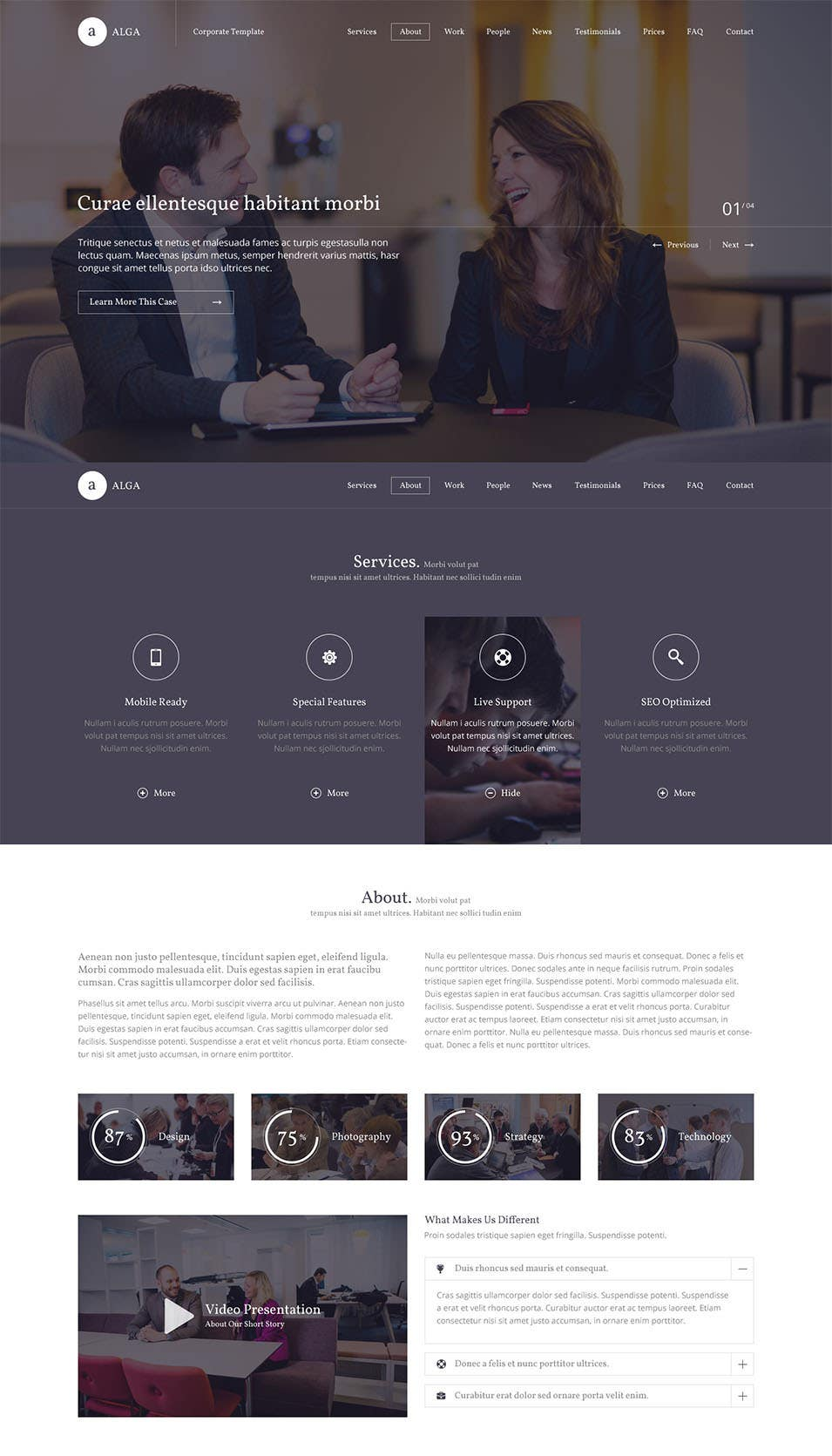 alga one page psd template