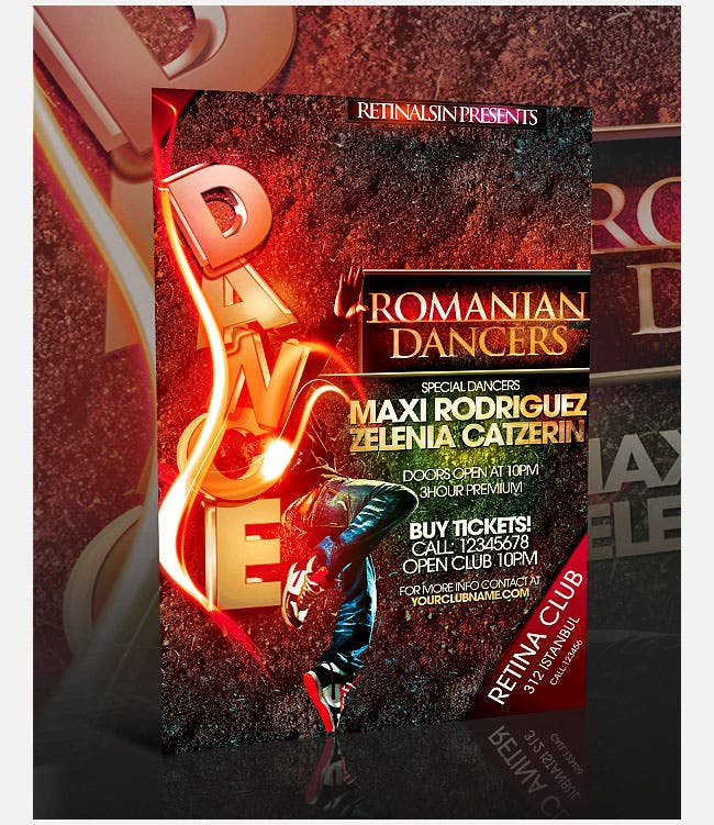 amazing dance flyer psd