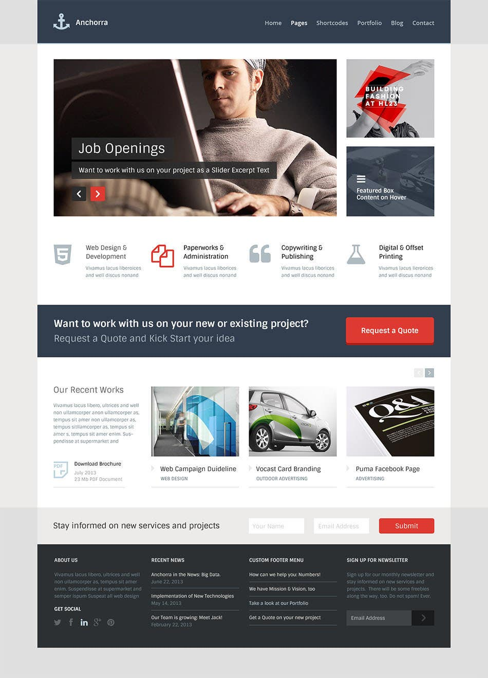 anchorra multipurpose website psd template