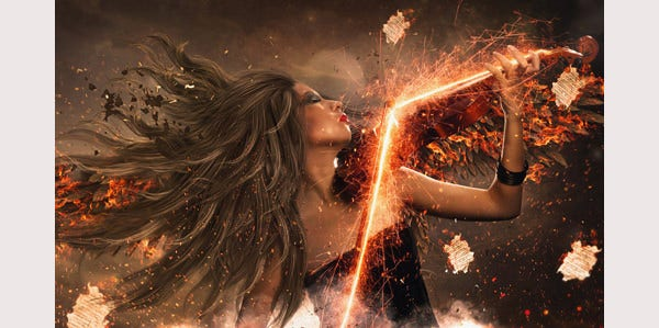 Angel With Fire Wings Photoshop Manipulation