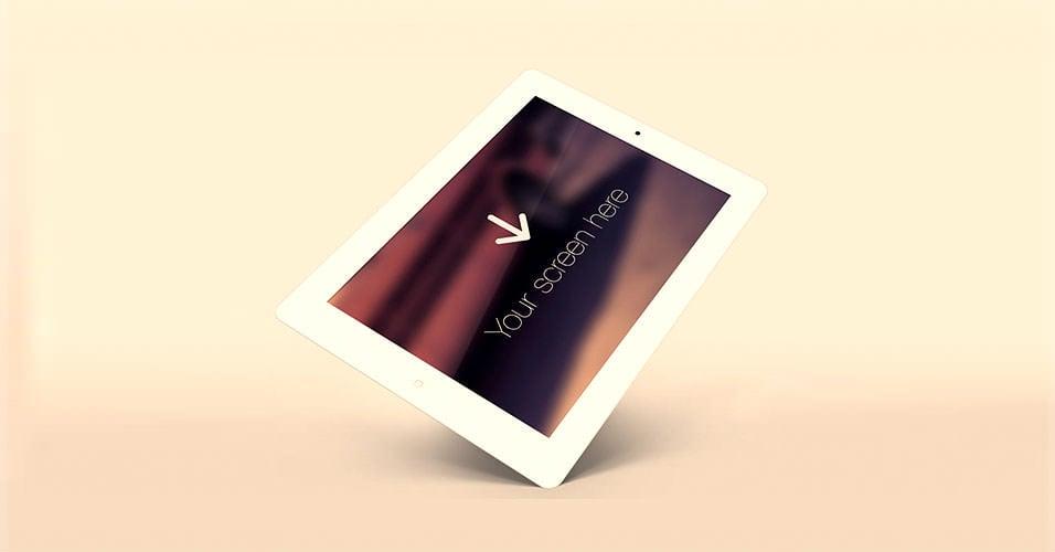 Angled White iPad Free PSD
