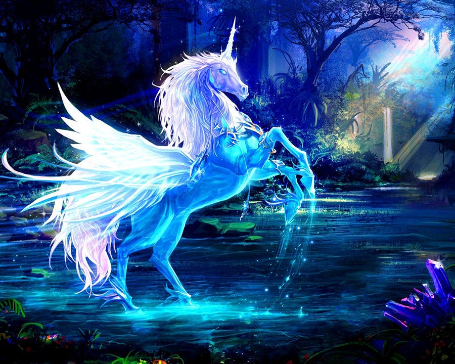 art pictures unicorn horse water rays forest blue