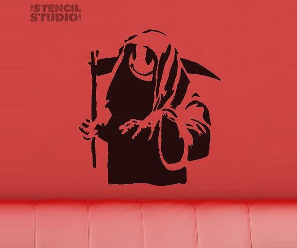 banksy style grin reaper stencil