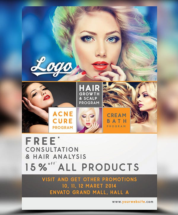 Beauty Salon Discount Flyer Template PSD