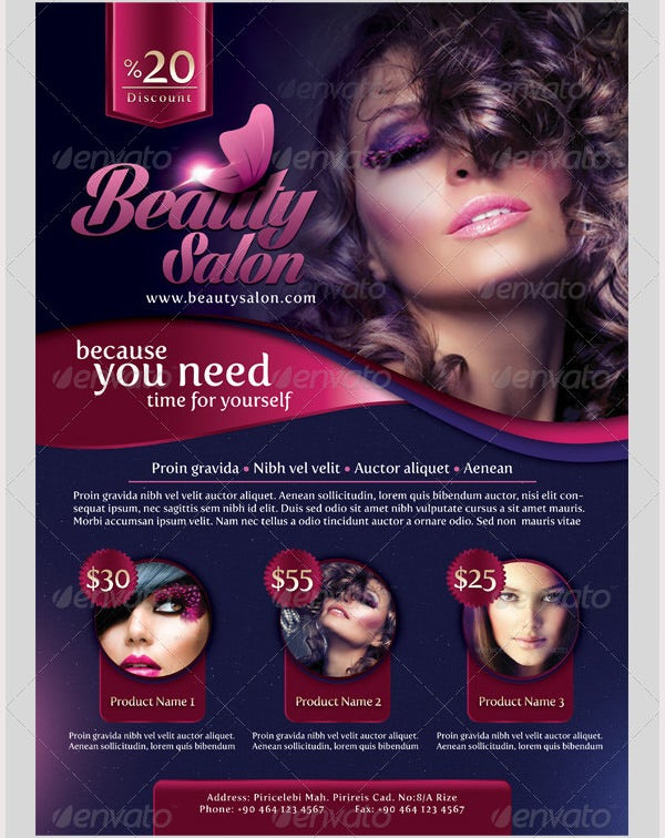 Beauty Salon Flyer Templates Free PSD EPS AI Illustrator - Hair salon brochure templates