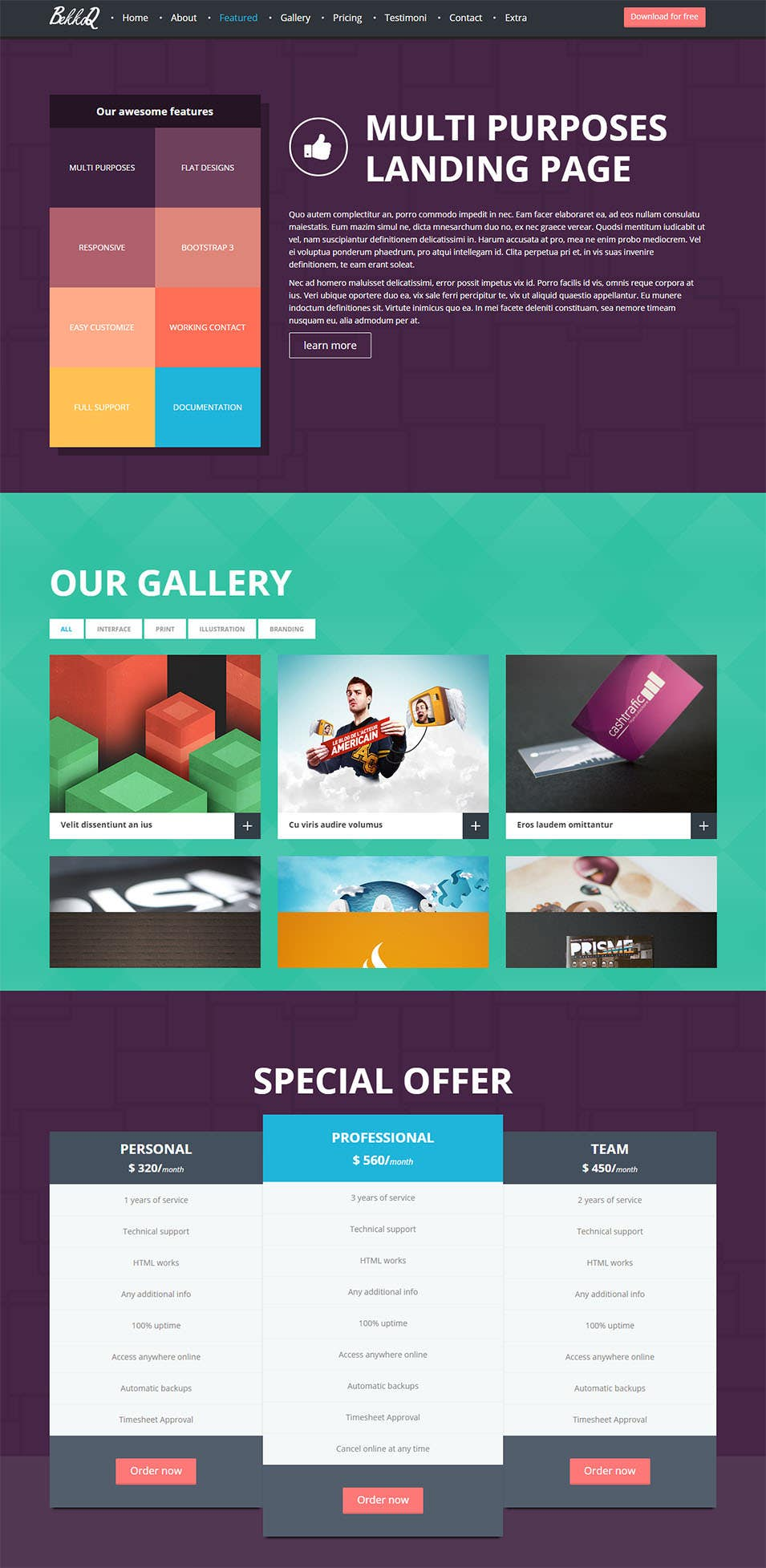 bekkoq multi purposes landing page template