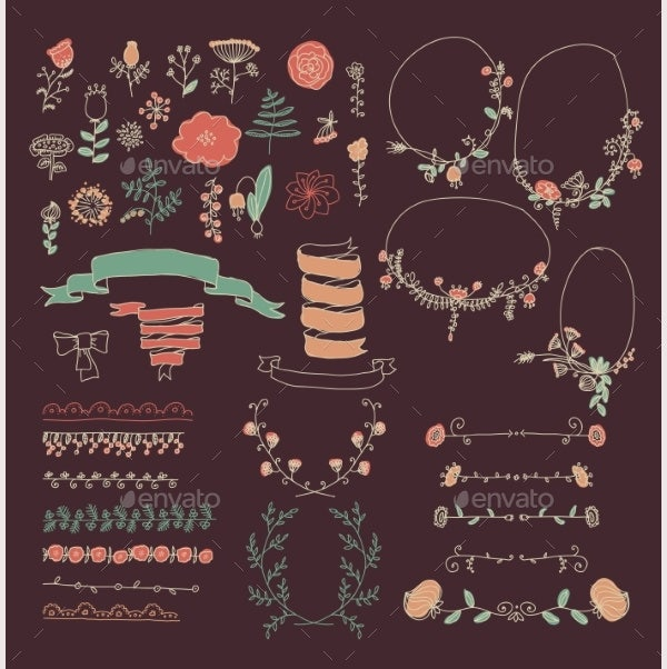 Big Set of Floral Graphic Design Elements
