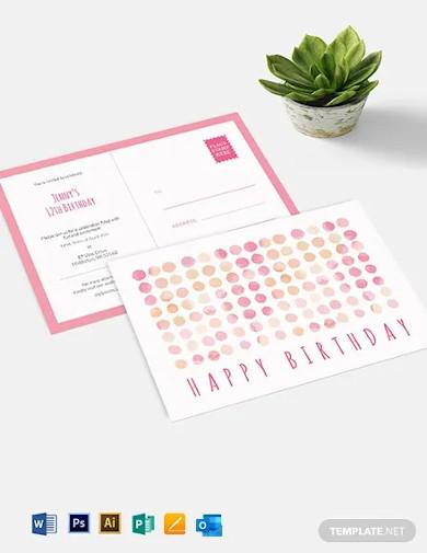 birthday invitation postcard template