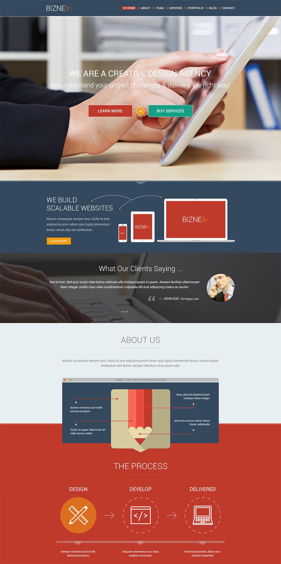 biznex multi purpose parallax psd landing page