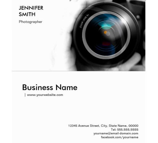 black and white photographer camera lens business cards