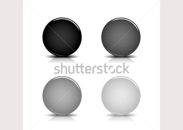 black blank round glossy web button