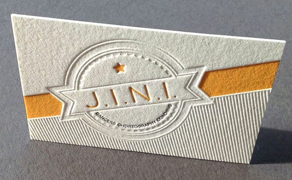 blind debossed letterpress business card