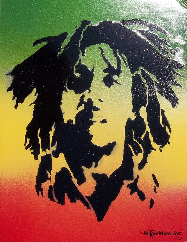 bob marley pop art spray paint stencil