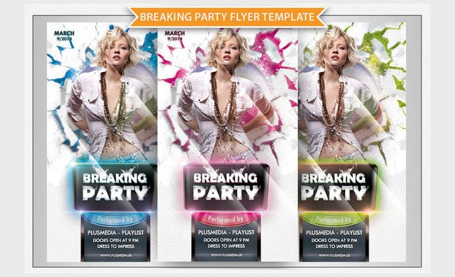 breaking party flyer template