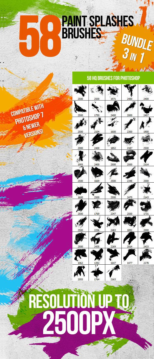 bundle 58 paint splashes photoshop brushes