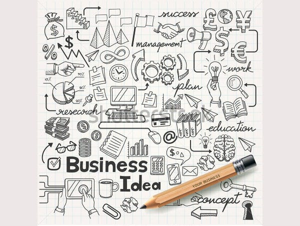 business idea doodles icons set