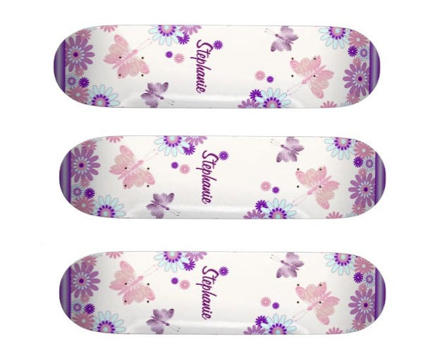 butterfly and flowers skateboards