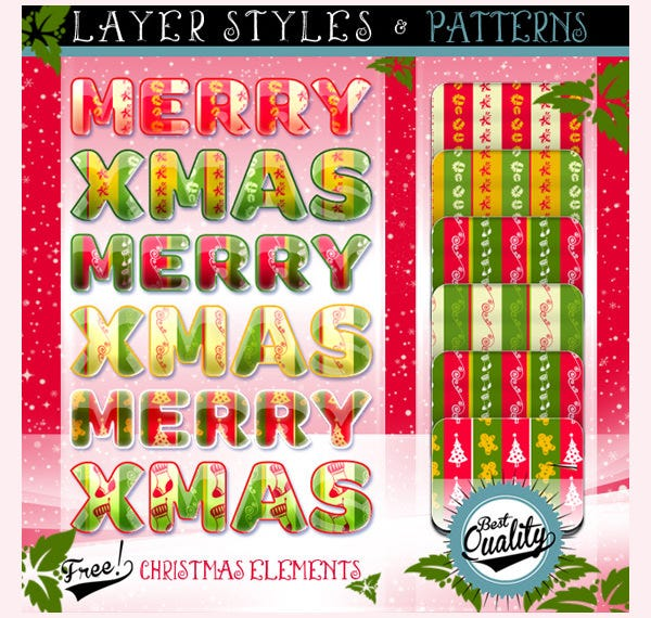 christmas elements styles and patterns