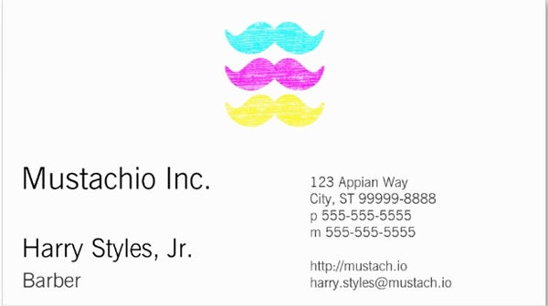 cmy mustaches letterpress style business card