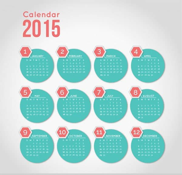calendar with minimalist round shapes