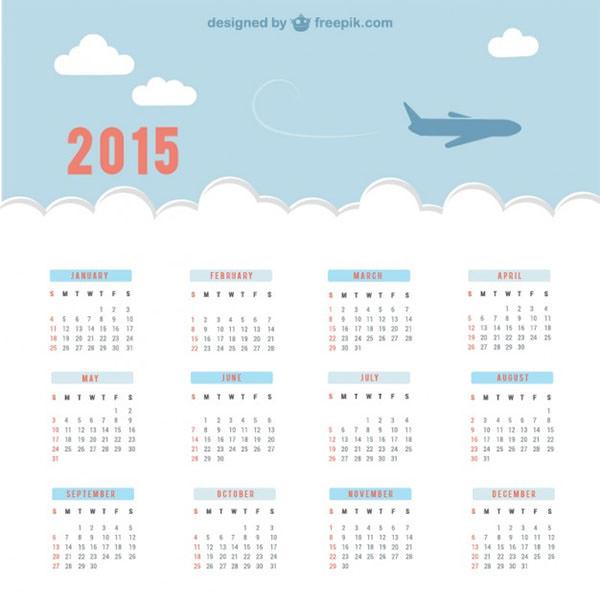calendar with sky and plane