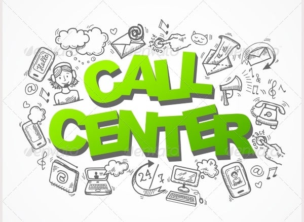 Call Center Sketch Icons Composition
