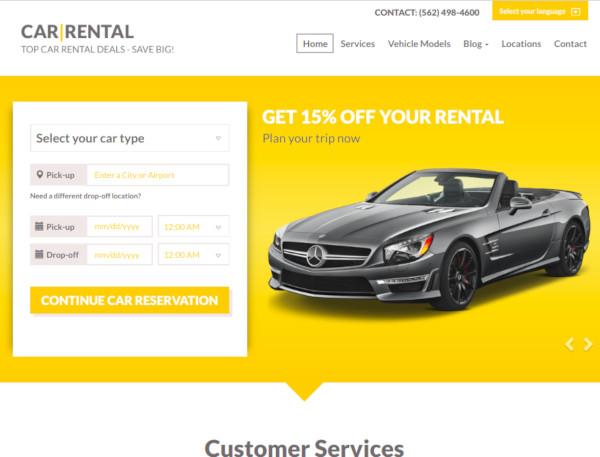 car rental landing page1