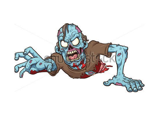 cartoon crawling zombie