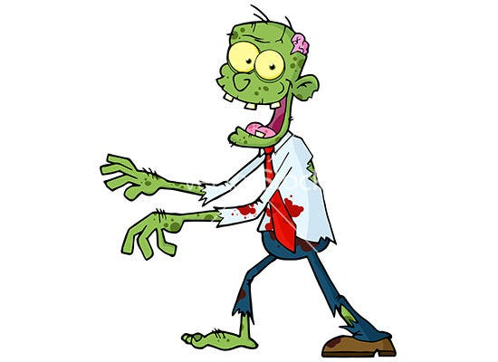 cartoon green zombie vector