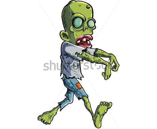 cartoon stalking zombie