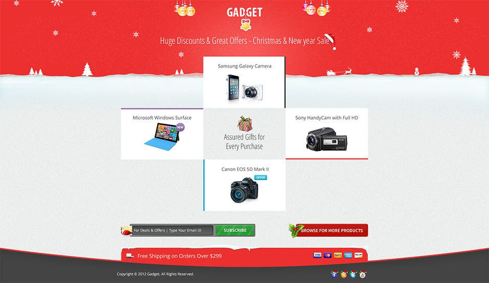 christmas new year landing page