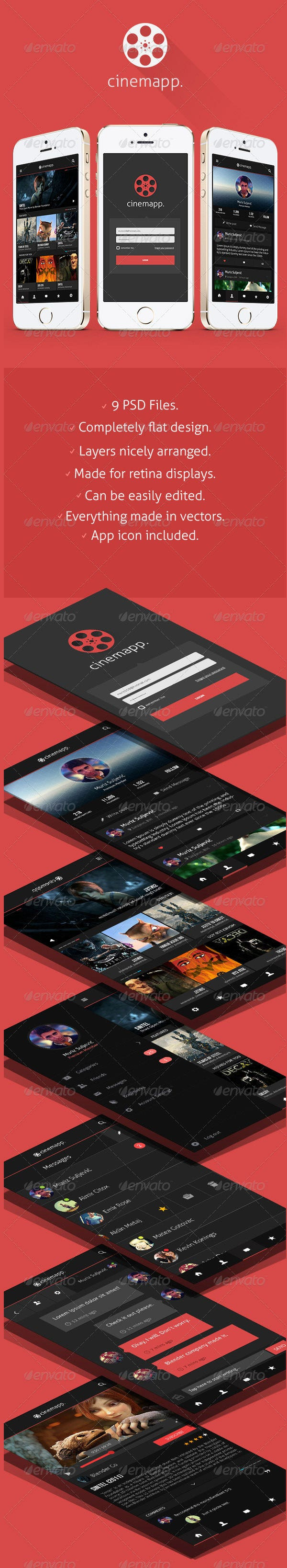 cinemapp flat app design