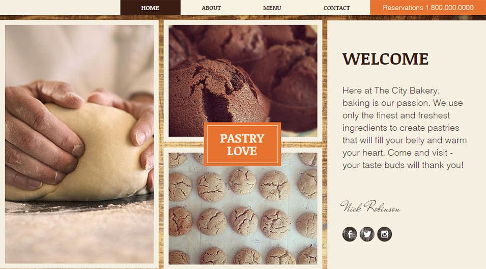 city bakery website template wix