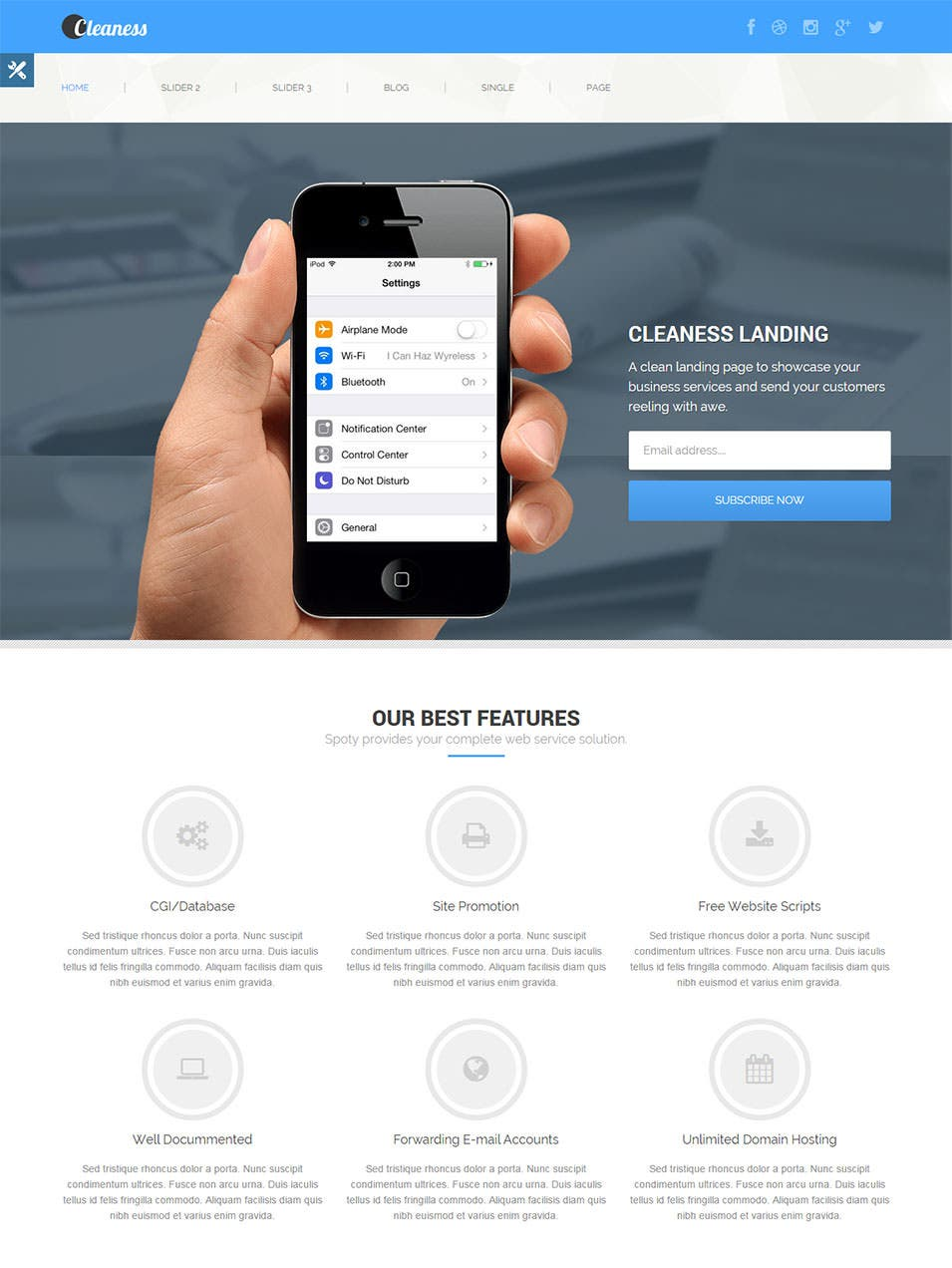cleaness responsive business wordpress landing