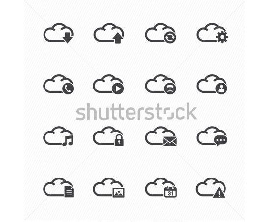 cloud computing icons with