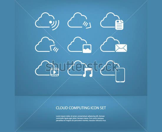 cloud computing icons set in modern flat design